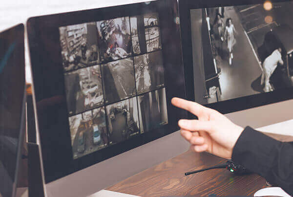 On-screen security camera images