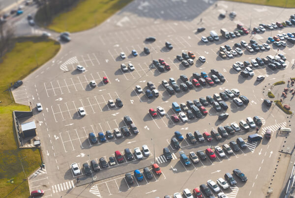 Airport users use the parking garage