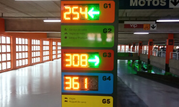Picture of the displays indicating the availability of parking spaces